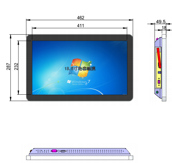 18.5 Inch Thin Touch Screen Monitor , Capacitive Touch Screen Monitor IPS High Resolution